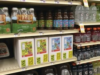 Bottles and Tea in Boxes competing on da shelf at Calandros Perkins Road location in Baton Rouge, Louisiana!